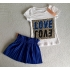 T-shirt love/love - blauw
