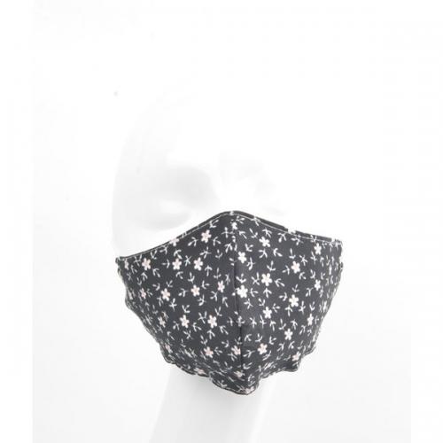 Mondkapje | Bloemetjes zwart/wit