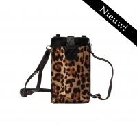 Telefoontasje met hengsel - Bruin Leopard