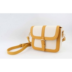 Crossbody Noah (wit canvas/geel)