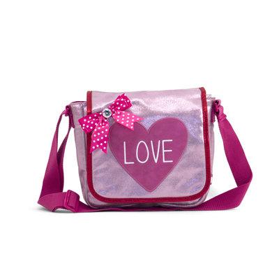 ZEBRA tas - Kinder flaptasje LOVE pink
