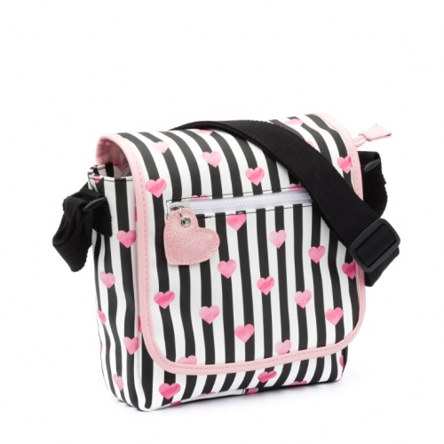 ZEBRA Flaptasje - Stripes & Hearts Black