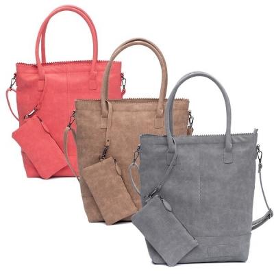 ZEBRA tas - Natural Bag kartel met rits en schouderband - Donker Grijs/Camel/Red