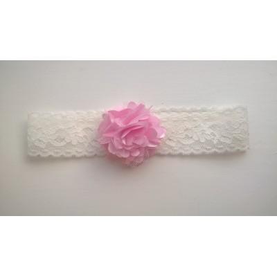 Haarbandje kant (wit met roze bloem)