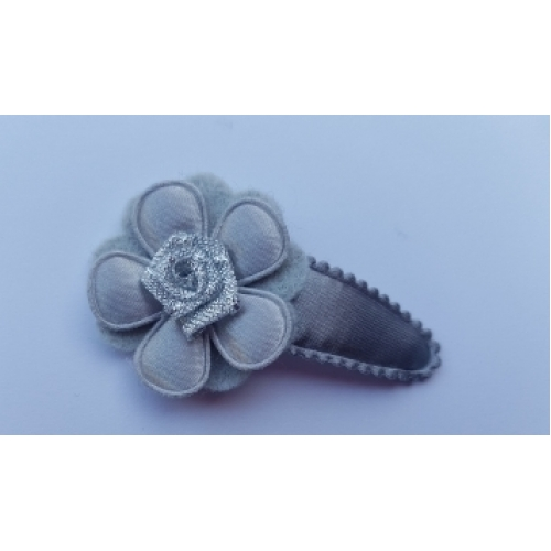 Haarlokspeldje groot - grijs met roosje