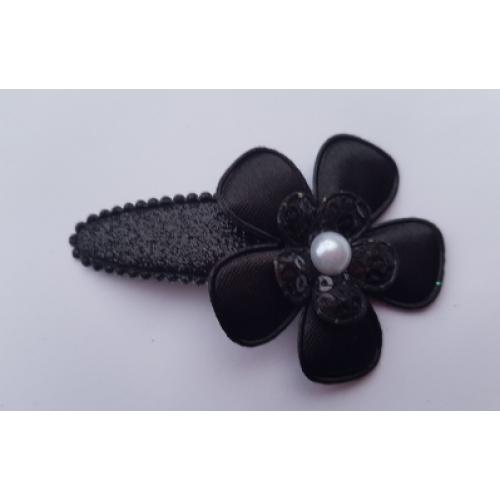 Haarlokspeldje groot - zwart met pareltje