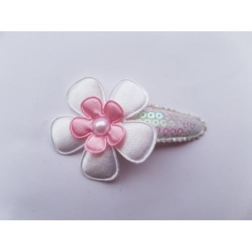 Haarlokspeldje groot - wit pailletten met roze