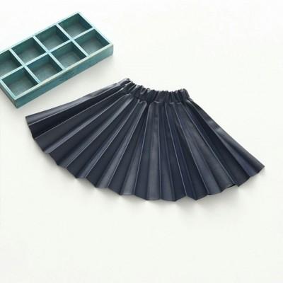 Leren plooirokje (blauw)
