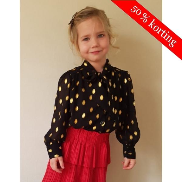 Feestelijk blouse met goudkleurige stippen - zwart