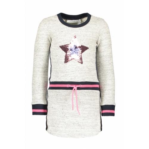 Bampidano - Lichtgrijze jurk met ster van pailletten