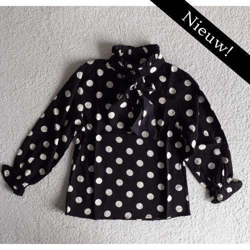 Zero blouse stippen- zwart
