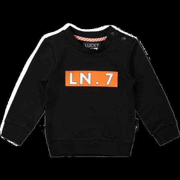 Lucky No 7 - Sweater Black oranje blok
