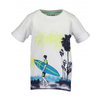 Blue Seven - T-shirt surfplank (wit)