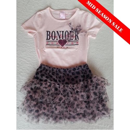 Zero - Set roze t-shirt met tule rokje met panterprint