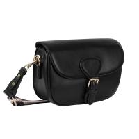 Tas met gespsluiting en gestreepte brede riem - Zwart